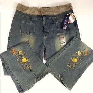 Revolt Jeans Plus Size 24 Dirty Wash Faux Fur NWT